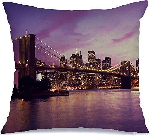 Funda de Cojine Throw CojínPuente USA Famoso Brooklyn Manhattan Distrito United Sunset New York Gate Design Crepúsculo Vista de Nueva York Fundas para almohada 45X45CM