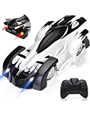 Remote Control Car, Rechargeable Wall Climbing Cars Dual Modes 360°Rotation Stunt 4WD RC Cars Vehicles Toys, Head Rear LED Lights, Intelligent Glowing USB Cable Gift for Kids (Color : Black)