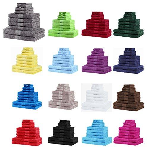 NatureMark 10 TLG. Frottier Handtuch-Set Verschiedene Größen 4X Handtücher, 2X Duschtücher, 2X Gästetücher, 2X Waschhandschuhe - Premium Qualität (10 TLG. Frottier Set, Schwarz)