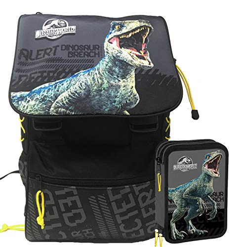 Jurassic World Schoolpack Zaino Scuola Estensibile più Astuccio 3 Zip Completo di Cancelleria