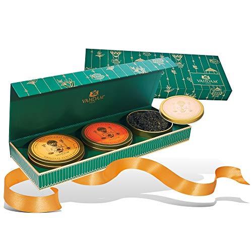 VAHDAM, juego de regalo de té surtido | 3 regalos de té, 75 porciones | Caja de presentación de lujo con el galardonado Tea Sampler | Té Negro, Té Verde, Té Chai | Regalos para mi novio