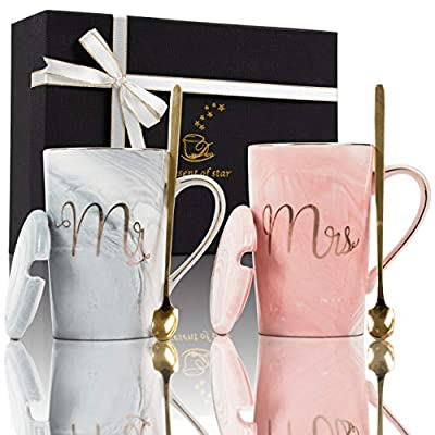 Fantasy Functions Mr. and Mrs. Coffee Mugs. Perfect for Engagement, Bridal Shower, Wedding, Anniversary. Unique, Elegant for Bride To Be. Marble Ceramic Mugs. Wedding gifts for couple. 14 oz