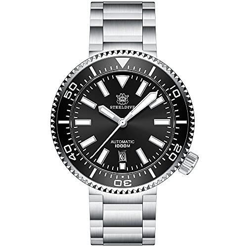 SD1976 Reloj de buceo automático para hombre, 100 bar, negro, con correa de acero inoxidable, cristal de zafiro, bisel de cerámica