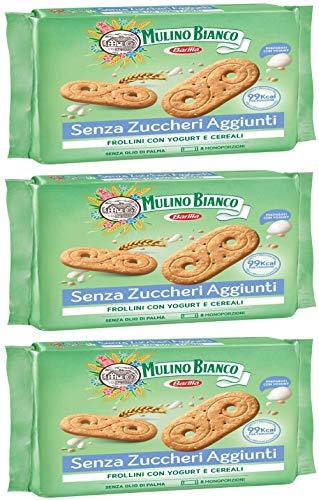 3X Mulino Bianco Frollini italien Biscuits Cookies avec Yoghourt et céréales 400g sans sucre ajouté. 99Kcal par portion. pas de l'huile de palme. Santé Nourriture.