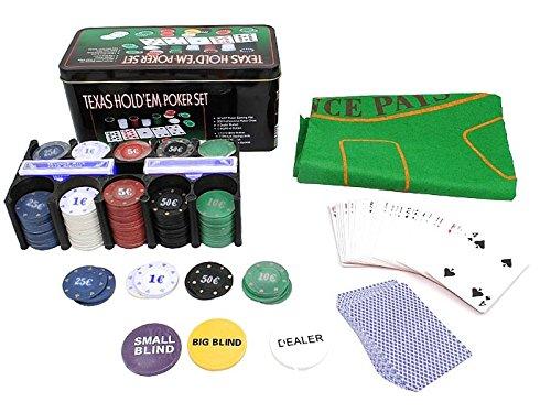 ISO TRADE Texas Holdem Poker Set 200 Chips Black Jack Kartenspiel Pokerkartenspiel 600