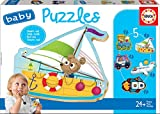 Educa - Baby Puzzles Vehículos. Set de 5 Puzzles Infantiles Progresivos de 3 a 5 piezas. A partir de 24 meses. Ref. 18059
