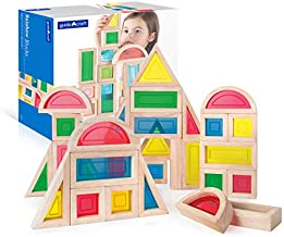 Guidecraft Rainbow Blocks Set - 30 Pcs. Kids Learning & Educational Toys, Stacking Blocks