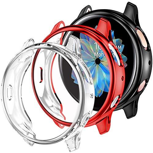 Dirrelo Kompatibel mit Samsung Galaxy Watch Active 2 40mm Hülle, [3 Stück] Weiches Ultradünne TPU Schutzhülle Vollständige Abdeckung Case für Samsung Galaxy Watch Active 2, Schwarz+Klar+Rot