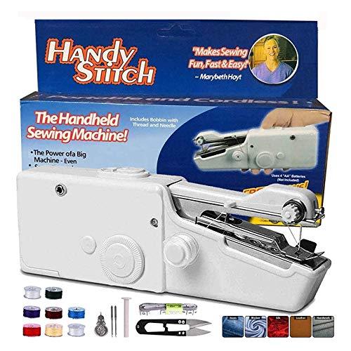 Mini máquina de coser de mano con bobinas extra, máquina de coser eléctrica portátil MSDADA inalámbrica con bobina extra, aguja para cortinas, tela, tela infantil, manualidades y viajes en casa