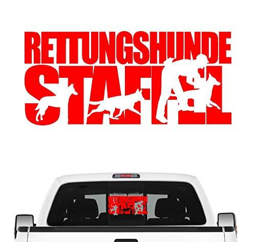 Rettungshundestaffel Hundesport Auto Aufkleber Hund Folie Mantrailing Suchhunde Farbe Rot, Größe 60cm