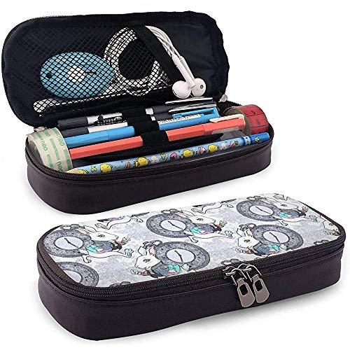 Laufende Kaninchen Federmäppchen Leder große Kapazität Bleistiftbeutel Make-up Stift Tasche langlebig mit doppeltem Reißverschluss Stifthalter