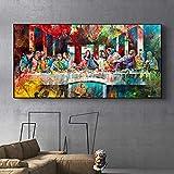 Arte de pared clásico Graffiti Art Last Supper de Da Vinci Reproducciones de pinturas en lienzo Impresión en lienzo para decoración del hogar 60x120cm (23'x47') Sin marco