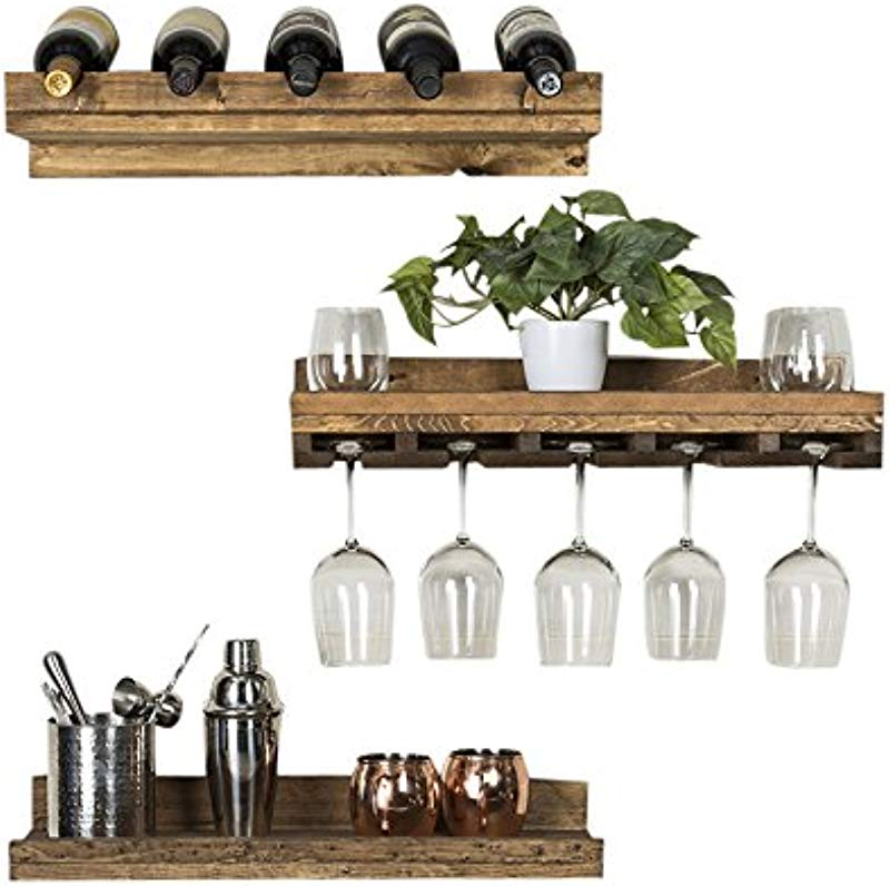 Del Hutson Designs Rustic Luxe Floating Wine Shelf Glass Rack Set Dark Walnut