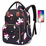 SOCKO Laptop Backpack for Women Girls Anti-Theft Travel Backpack Floral School Bookbag 15.6 inch Laptop Bag with USB Charging Port and Luggage Strap, Black