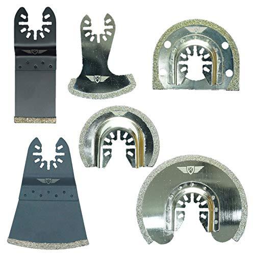 6 x TopsTools FAKD6 Fast Fit Diamant Mörtel Klingen für Dewalt Stanley Bosch Fein (Nicht-StarLock) Makita Milwaukee Parkside Ryobi Worx Multifunktionswerkzeug Oszillierwerkzeug Zubehör