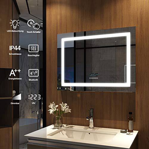 Meykoers Wandspiegel Badezimmerspiegel LED Badspiegel mit Beleuchtung 80x60cm mit Touch-Schalter, Bluetooth Lautsprecher und Beschlagfrei, Lichtspiegel Kaltweiß 6400K Energieklasse A++