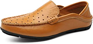 Ranipobo Perforated Penny Loafers for Men Genuine Leather Bbusiness Casual Shoes Anti-Slip Flat Slip-on for Men (Color : Yellowish-Brown, Size : 5.5 UK)