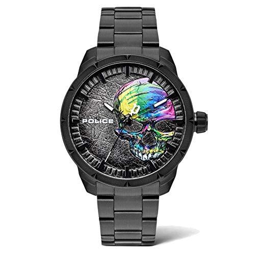 Police Unisex Erwachsene Analog Quarz Uhr mit Edelstahl Armband PL15715JSB.78M
