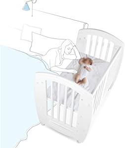 XJJUN-Rocking crib Universal wheel Mute Suitable for swinging And large bed stitching layer Partition Safe and convenient Strong load bearing capacity  Color White  Size 105X71X97CM