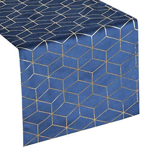 Eurofirany tafelkleed, tafelloper, fluweel, geometrisch patroon, tafeldecoratie, tafelkleed, tafelloper, fluweel, elegant, 1 stuks, marineblauw, 35 x 140 cm