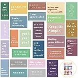 30 Piezas Kit de Collage de Pared de Frases de Aliento Arte de Pared Inspirador Posteres Motivacionales con 48 Pegatinas Redondas Adhesivas Coloridas para Decoración de Pared de Habitación
