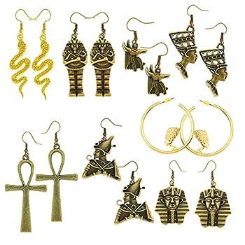 Anti Gold Nefertiti Goddess 8 Pairs Women Girls Egyptian Ancient Costume Dangle Set Earrings Cross Snake Hoop Studs Drop Vintage Jewelry Accessory Statement