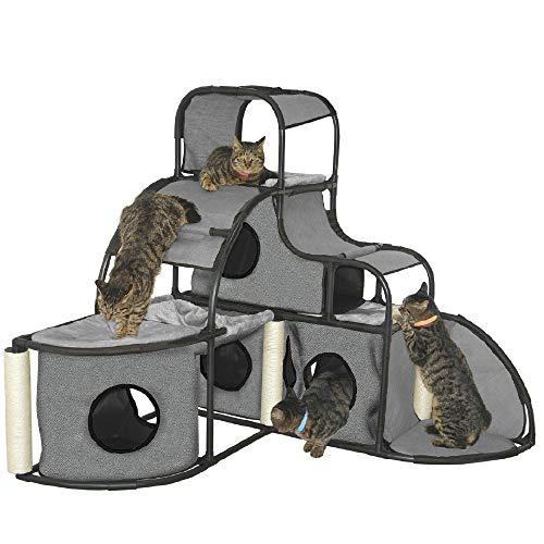 Croci C2020214 Cat Activity House Parkour Giant, grau