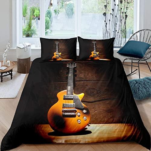 Funda Nordica Cama 135 Guitarra Negra, Ropa de Cama Estampado en Microfibra Funda Edredon 240x220 cm y 2 Fundas de Almohada 50x75cm con Cremallera