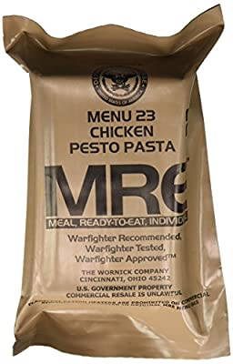 Chicken Pesto Pasta MRE Meal - Genuine US Military Surplus Inspection Date 2020 and Up