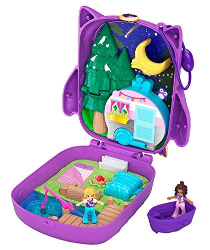 Polly Pocket GKJ47 - Nachteulen Campingplatz mit 2 kleinen Puppen und Zubehör, Spielzeug ab 4 Jahren