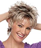Yemenger Short Natural Curly Wig Ombre Brown to Blonde Hair Wigs Natural Heat Resistant Full Wig for Women