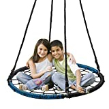 Display4top Spider Web Tree Swing,40' Round Outdoor Web Tree Net Swing,Rope Swing, Durable Adjustable Hanging Ropes, Easy Install - for Kids, Adults and Teens (Blue & Black)