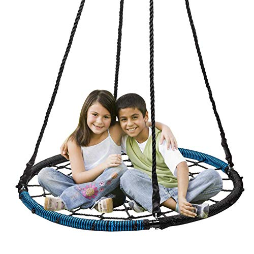 """Display4top Spider Web Tree Swing,40"""" Round Outdoor Web Tree Net Swing,Rope Swing, Durable Adjustable Hanging Ropes, Easy Install - for Kids, Adults and Teens (Blue & Black)"""