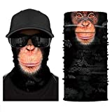 [NEW STYLE]3D Animal Neck Gaiter Warmer Windproof Face Mask Scarf, Microfiber Multifunctional Headwear for Motorcycle Riding (Ape)