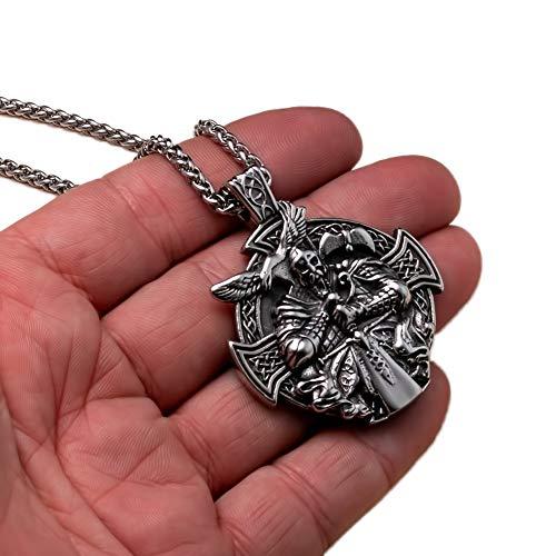 NICEWL Viking Odin Sword Raven Rune Colgante Collar, Hombres Acero Inoxidable Guerrero Cruz Escudo Amuleto, Moda Edad Media Estilo Gótico Nudo Celta Joyería Nórdica
