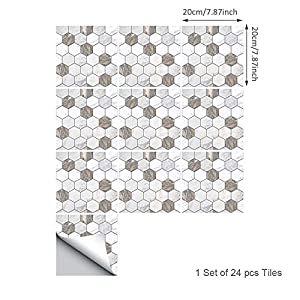Topmail 24 Piezas Azulejos Adhesivos Suelo 20x20cm Azulejos Vinilo Adhesivo Adhesivo Decorativo para Azulejos para baño y Cocina Stickers