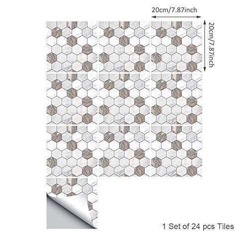 Topmail 24pz Adesivi per Piastrelle Wall Stickers da Mattonelle Parete Muro in PVC Impermeabile Autoadesivo Antiolio Esagono Bianco 20x20cm per Cucina Bagno Fai da Te