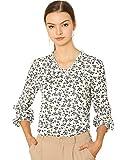Allegra K Camisa Campesina Estampado Floral Botón Abajo Blusa Cuello Volantes Mangas Largas para Mujeres Blanco S