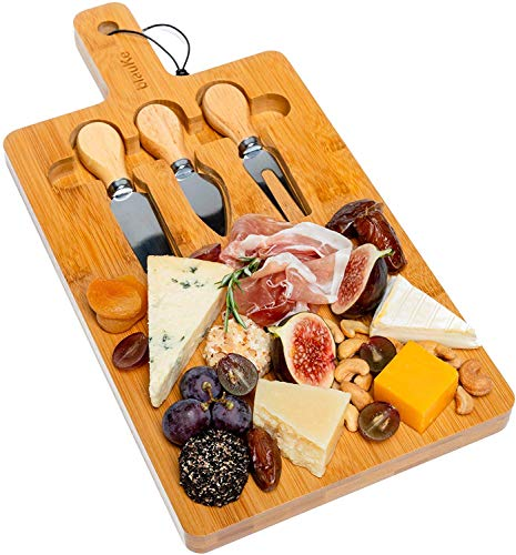 Bamboo Cheese Board with Cutlery Set (3 Cheese Knives Included) - Bamboo Cheese Board and Knife Set (Great Gift Idea) - Multifunctional and Eco-Friendly Wooden Cheese Board - BlauKe