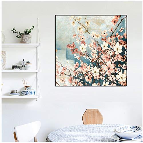 """NIESHUIJING print op canvas decoratie schilderijen traditioneel handgeschilderde bloemen en vogels gedrukte poster voor woonkamer home decoratie 15.7""""x15.7""""(40x40cm) Geen lijst1"""