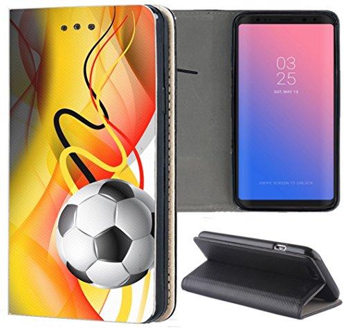 Samsung Galaxy S5 / S5 Neo Hülle Premium Smart Einseitig Flipcover Hülle Samsung S5 Neo Flip Case Handyhülle Samsung S5 Motiv (1417 Fussball Fußball Schwarz Rot Gelb)