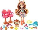 Enchantimals Savane Ensoleillée coffret Salon de Coiffure avec mini-poupée Lacey Lion, figurine animale Manesy et accessoires, jouet pour enfant, GTM29
