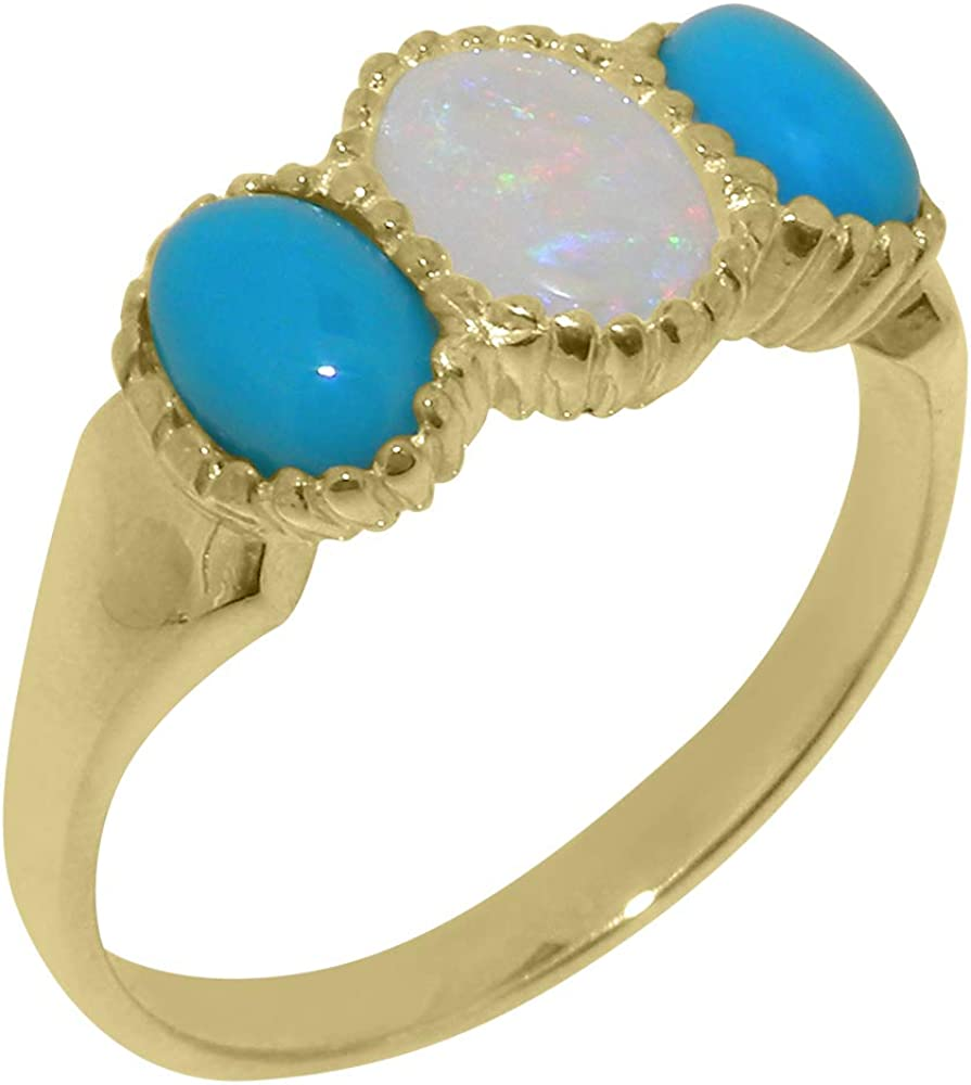 9k Yellow Gold Natural Opal Recommendation Turquoise Ranking TOP3 Trilogy Womens Si - Ring
