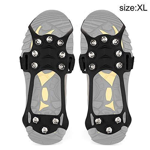 iSunday 1 Paar Antirutsch 10 Zähne Ice Steigeisen Zugkraft Klemme für Schuhe Stiefel Outdoor Wandern Klettern - X-Large