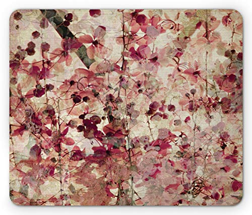 Ambesonne Antique Mouse Pad, Grungy Effect Cherry Blossoms on Ribbed Bamboo Retro Background Floral Art Work, Rectangle Non-Slip Rubber Mousepad, Standard Size, Pink Beige