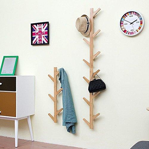 WEII Appendiabiti in Legno da Parete, Decorazione per Camera da Letto Soggiorno Gancio Porta Asciugamani, Wood Color, 123 * 22 * 7cm