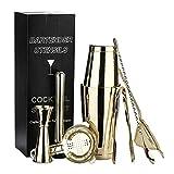 meimeijia Brillante 7pcs Set Kit Camarero Acero Inoxidable Shaker Set Herramientas Accesorios de medición Regalos Copa colador Mezcla (Color : Gold)