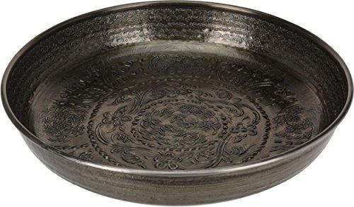 CHICCIE Bol décoratif au Design Oriental Gris métallisé 39 cm