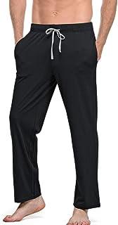 Pantalones de Pijama para Hombre Pantalones Largos de Dormir 100% algodón Hombre pantalón de Color sólido Cordón con 2 Bolsillos Negro XL