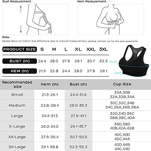 Fittin Womens Padded Sports Bras Wire Free with Removable Pads Green ,S